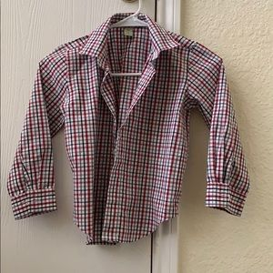 Other - Red gray and white plaid button down shirt for boy